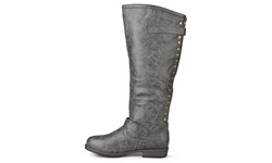 Journee Collection Women's Extra Wide Calf Studded Boot - Grey - Size: 9.5