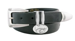 NCAA Men's Kansas State Wildcats Leather Concho Tapered Tip Belt - Blk/32