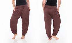 Women's Plus Size Brown Harem Pants:ps560-brown/3xl