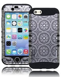 """Bastex Heavy Duty Hybrid Kickstand Case For Apple iPhone 6, 4.7"""" - Dark Black Soft Silicone Gel Cover with Silver and Black Antique Circles Hard Shell Design"""