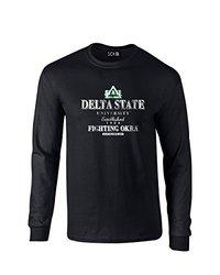 NCAA Delta State Statesmen Stacked Vintage Long Sleeve T-Shirt, X-Large, Black