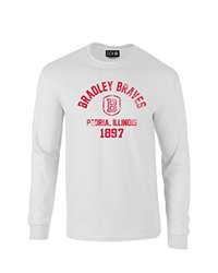 NCAA Bradley Braves Mascot Block Arch Long Sleeve T-Shirt, X-Large, White