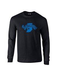NCAA Indiana State Sycamores Mascot Foil Long Sleeve T-Shirt, Medium, Black