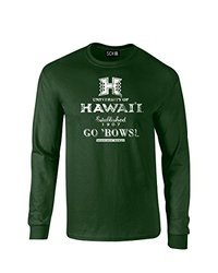 NCAA Hawaii Rainbow Warriors Stacked Vintage Long Sleeve T-Shirt, Small, Forest