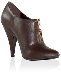 Stylish Ankle Boots: Maiden Front Zip Pointy Toe-brown/7.5