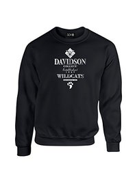 NCAA Davidson Wildcats Stacked Vintage Crew Neck Sweatshirt, Small, Black