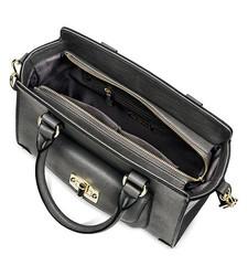 Merona Women's Faux Leather Winged Satchel Handbag - Grey