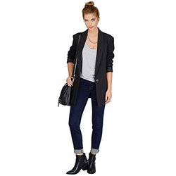 JZOEOEU Women's Long Sleeve One Button Office Blazers - Black-Size: XS