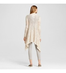Mossimo Juniors Women's Long Sleeve Waterfall Cardigan - Cream- Size : XS