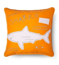 "Sabrina Soto 16""x16"" Charlie Shark Throw Pillow - Orange"