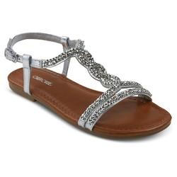 Cherokee Girls' Britt Jeweled Slide Sandals - Silver - Size: 3
