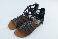 Stevies Girls' Trendy Ghillie Gladiator Sandal - Black - Size: 5