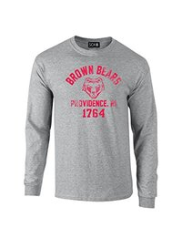 NCAA Brown Bears Mascot Block Arch Long Sleeve T-Shirt, Medium, Sport Grey