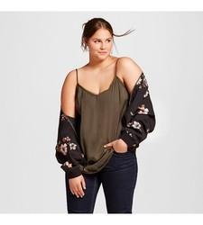 Who What Wear Women's Plus Size Lace Camisoles - Paris Green - 2X