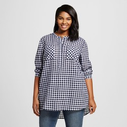 Merona Women's Plus Size Button Down Shirt - Xavier Navy - Size: 1X