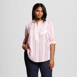 Merona Women's Plus Size Button Down Shirt - Washed Red - Size: 3XL