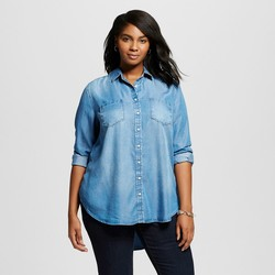 Merona Women's Plus Size Button Down Shirt - Medium Indigo - Size: 1XL