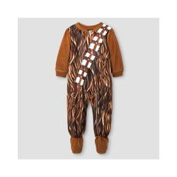 Star Wars Toddler Boys' Chewbacca Fleece Footed Sleeper - Brown - Size:12M
