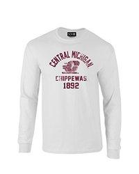 NCAA Central Michigan Chippewas Mascot Block Arch Long Sleeve T-Shirt, Medium, White