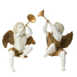 Style at Home with Margie Set of Two Hand-Painted Cherub Figurines