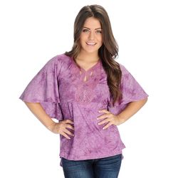 One World Women's Striped Knit Embellished Hi-Lo Top - Orchid - Size: XL