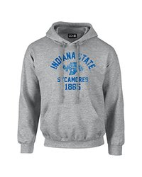 NCAA Indiana State Sycamores Mascot Block Arch Long Sleeve Hoodie, Small, Sport Grey