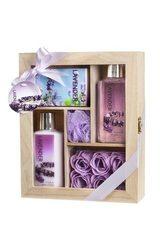Freida Joe Lavender Spa Bath Gift Set in Distress White Wood Curio