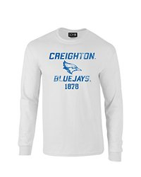 NCAA Creighton Bluejays Mascot Block Arch Long Sleeve T-Shirt, Small, White