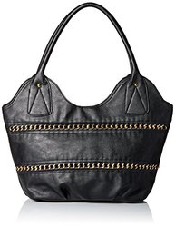 DEL MANO Hobo with Woven Chain Detail Shoulder Bag, Black, One Size