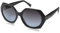 VonZipper Women's Buelah Round Sunglasses, Black Satin/Grey Blue Grad, 55 mm