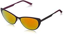 Kensie Women's Sandy Cateye Sunglasses, Black,Pink & Pink Mirror, 53 mm