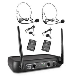 Pyle Pro VHF Fixed-Frequency Wireless Microphone System Black