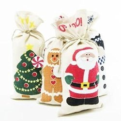 Canvas Christmas Gift Bags, 4 Count