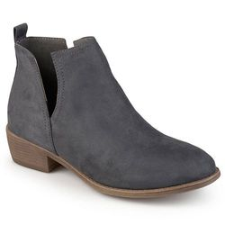 Journee Collection Women's Round Toe Faux Suede Boots - Gray - Size: 7