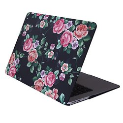 HDE MacBook Air 13 Case Floral Print Designer Pattern Plastic Slim Hard Shell Snap On Case Fits Models A1369 / A1466 (Black Floral)