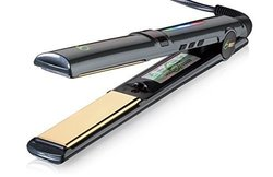 6th Sense FH-1 Professional Flat Iron Hair Straightener Ceramic Tourmaline with 1-Inch Floating Plates 1 Pass with 2-in-1 Mini Iron and Heat Resistant Case