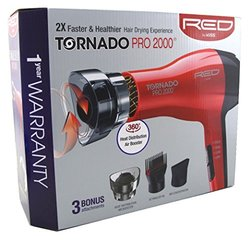 Kiss Standard Hair Dryer Dryer With 3 Attachments Tornado 2000 Watt - Red
