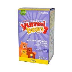 Yummi Bears Omega 3 + DHA Supplement for Kids, 90 Gummy Bears
