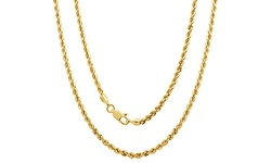 """Regal Jewelry 14k Solid Gold Diamond Cut Unisex Rope Chain - Size: 20"""""""