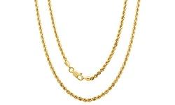 "Regal Jewelry 20"" 14k Solid Gold Diamond Cut Unisex Rope Chain"
