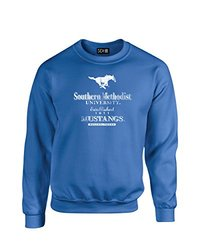 NCAA Smu Mustangs Stacked Vintage Crew Neck Sweatshirt, X-Large, Royal