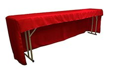 "LA Linen Open Back Polyester Poplin Tablecloth, 96 by 18 by 30"", Red"