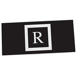 "KESS InHouse KESS Original ""Monogram Solid Black Letter R"" Office Desk Mat, Blotter, Pad, Mousepad, 13 x 26-Inches"