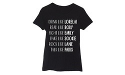 Ladies Short Sleeve Fitted Tee - Gilmore Name - Black - Size: M