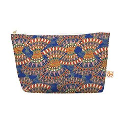 "Kess InHouse 8.5"" x 4"" Orange Blue Abstract Cosmetics Tapered Pouch"