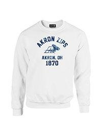 NCAA Akron Zips Mascot Block Arch Crew Neck Sweatshirt, Large, White