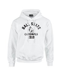 NCAA Ball State Cardinals Mascot Block Arch Long Sleeve Hoodie, XX-Large, White