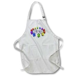 3dRose apr_53271_1 Lollipop Clock Full Length Apron with Pockets, 22 by 30-Inch, White