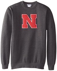 NCAA University of Nebraska Men's Change History Fleece Pullover, Charcoal Heather, Medium