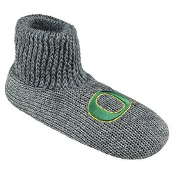 NCAA Oregon Ducks Ribbed Cuff Wool Blend Slipper Socks, X-Large, Grey